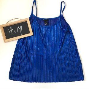H&M Top Metallic Pleated Royal Blue Sleeveless M
